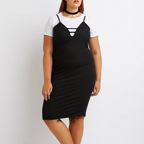 be0efdeebc Charlotte Russe Dresses   Skirts - Charlotte Russe Plus Layered Tshirt Cami  Dress